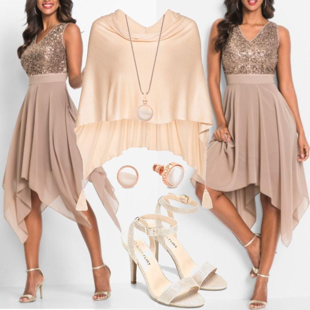 ff6a9ea8440a2c Abendkleid mit Pailletten ohne Ärmel in braun von bonprix Feinstrick-Poncho  in beige von bonprix Women Outfit