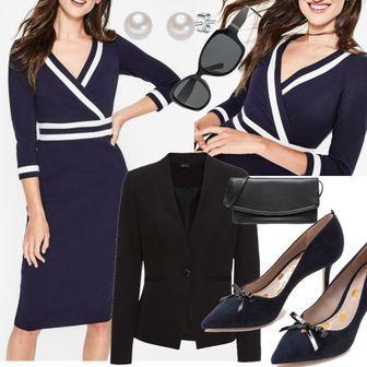 abbb32fb0b89bc Nellie Ponte-Kleid Navy Damen Boden